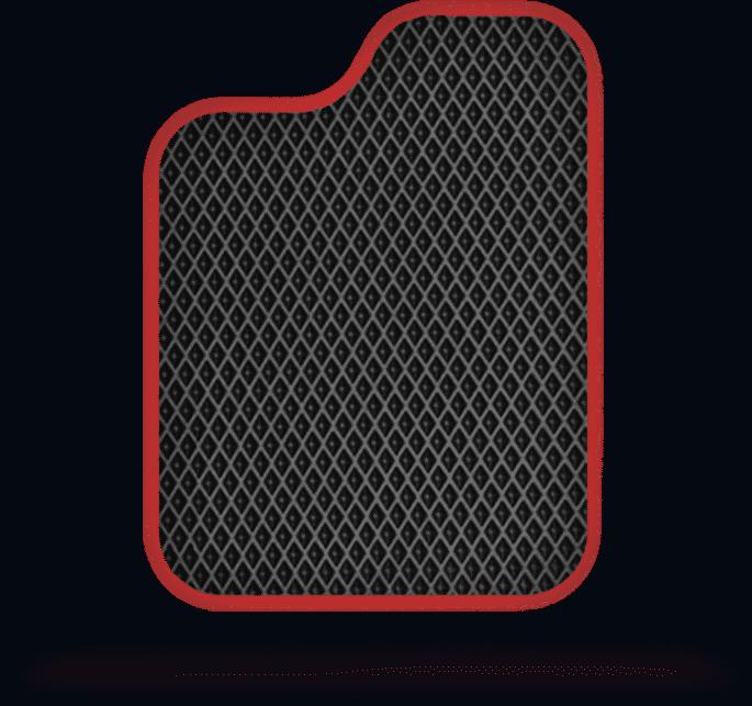 שטיח לרכב מבט עליון בצבע שחור ומסגרת אדומה